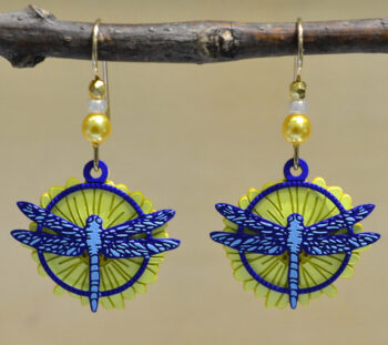 yellow flower and blue dragonfly dangle earrings