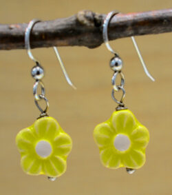 handmade ceramic yellow flower earrings