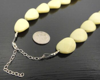 Extra long yellow jasper stone bead necklace clasp
