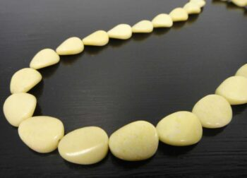 Extra long yellow jasper stone bead necklace close up