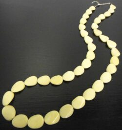 Handmade extra long yellow jasper stone bead necklace
