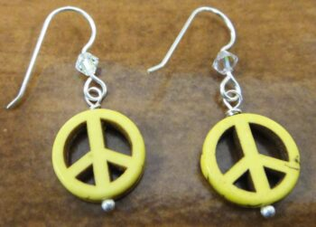 yellow peace sign, swaroski crystal beads, and sterling silver earrings handmade in Iowa City