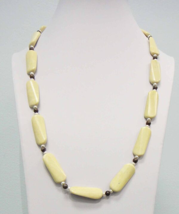 lemon and brown jasper with petite white pearls long necklace