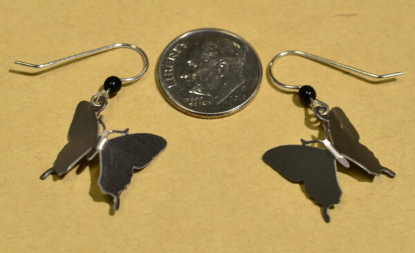back of yellow swallowtail butterfly Sienna Sky earrings with dime