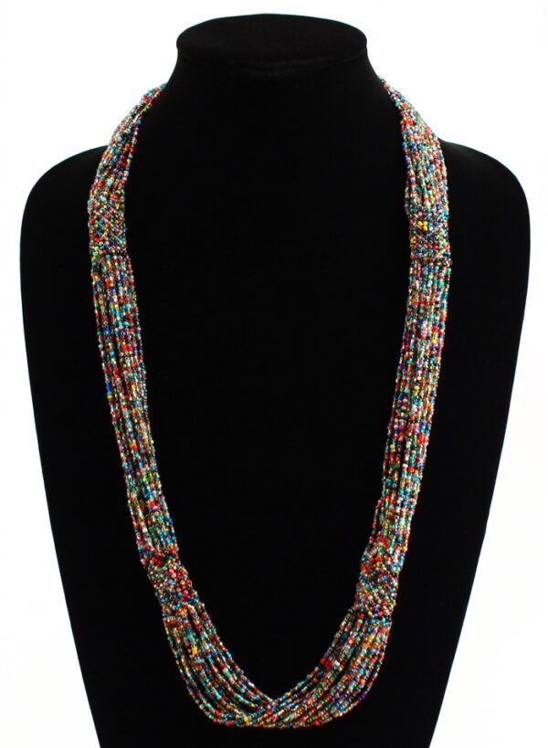 Long Czech glass seed bead woven necklace